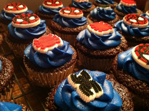 Tight shot showing Spiderman cupcakes