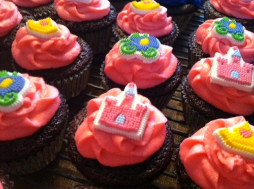 Tight shot showing Princess cupcakes