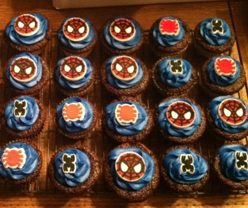 Wide shot showing Spiderman cupcakes